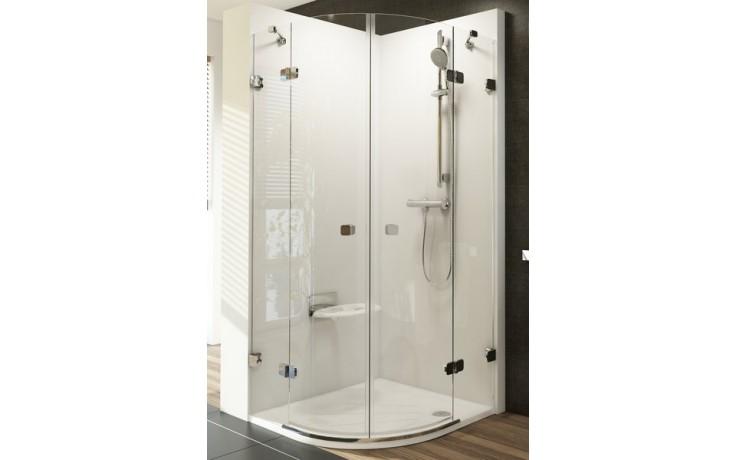 RAVAK BRILLIANT BSKK4 80 sprchovací kút 800x800x1950mm štvrťkruhový, štvordielny, chróm/transparent