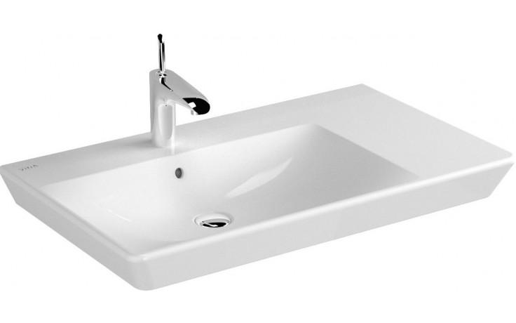 VITRA T4 umývadlo asymetrické 800x470mm s otvorom a prepadom, biela