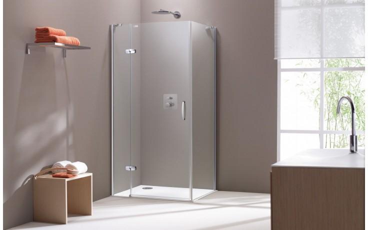 CONCEPT 300 sprchové dvere 900x1900mm krídlové, s pevným segmentom, ľavé, strieborná / číre sklo PT432302.092.322