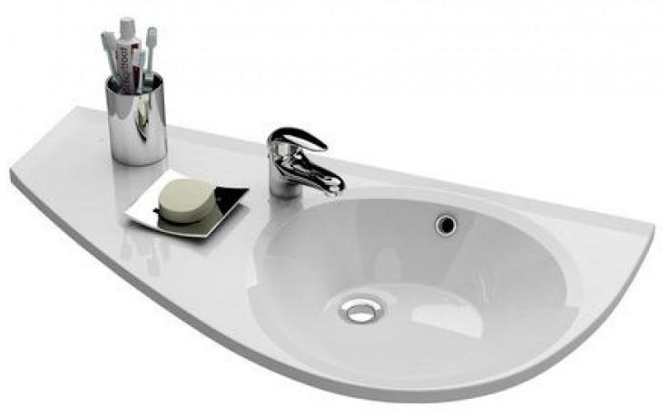 RAVAK AVOCADO špeciálne umývadlo nábytkové 850x450x124mm, z liateho mramoru, ľavé, s otvorom, biela