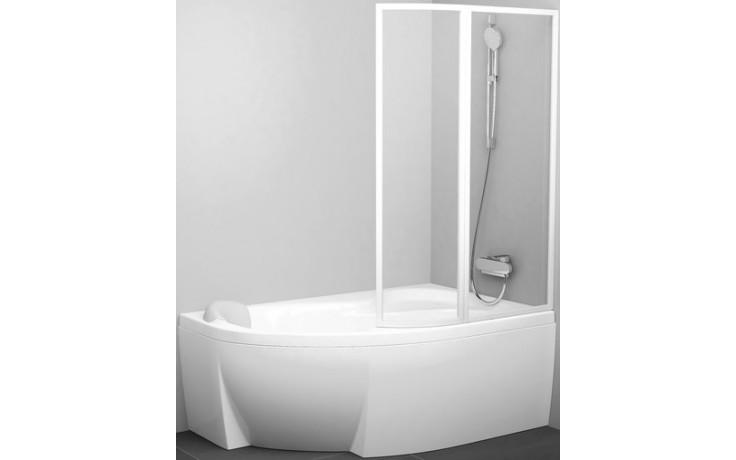 RAVAK ROSA VSK2 vaňová zástena 1600x1500mm rámová, dvojdielna, ľavá, biela / transparent 76L90100Z1