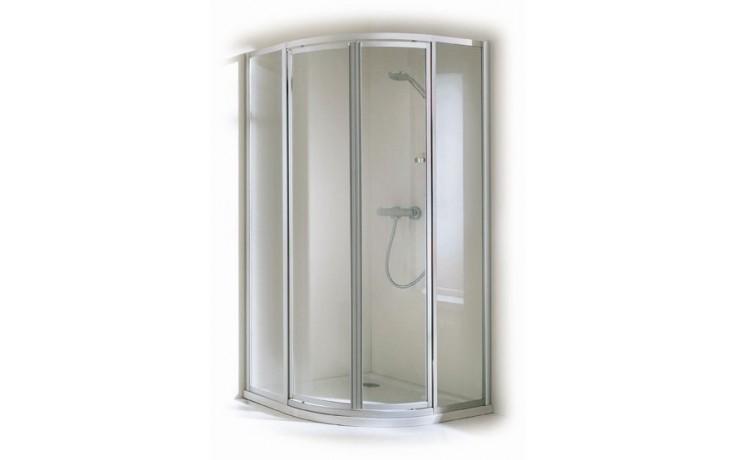 CONCEPT 100 sprchové dvere 800x800x1900mm posuvné, rohový vstup 2 dielny, strieborná / matný plast