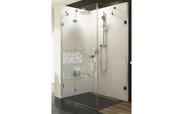 RAVAK BRILLIANT BSDPS 110/80 sprchovací kút 1100x800x1950mm dvojdielny s pevnou stenou, pravý, chróm/transparent