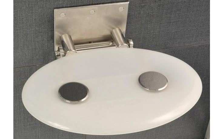 RAVAK OVO P sedadlo do sprchovacieho kúta 410x350x130mm plastové, biela / priesvitná B8F0000001