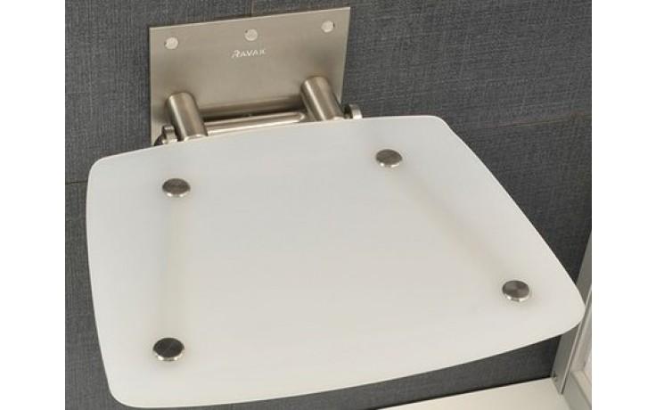 RAVAK OVO B sedátko 360x360x130mm do sprchovacieho kúta, sklopné, opal B8F0000016