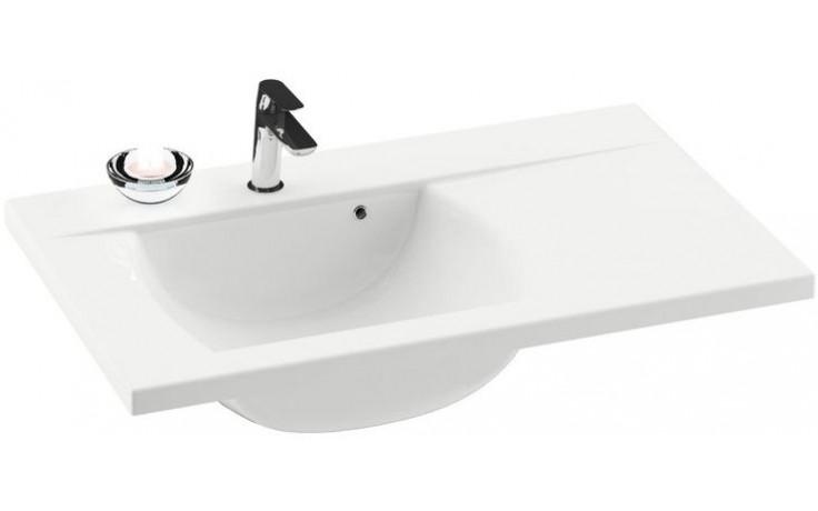 RAVAK CLASSIC 800 umývadlo nábytkové 800x490mm z liateho mramoru, pravé s otvorom, biela XJDP1180000