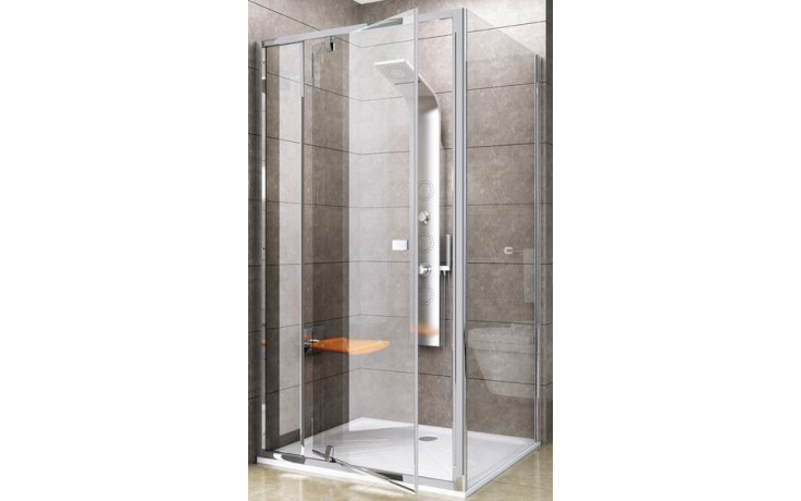 RAVAK PIVOT PPS 90 pevná stena 870x895x1900mm jednodielna, satin / transparent 90G70U00Z1