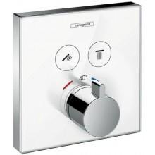 HANSGROHE SHOWER SELECT GLASS termostatická sprchová batéria 156x156mm podomietková, pre 2 spotrebiče, biela/chróm