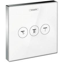 HANSGROHE SHOWERSELECT GLAS ventil pod omietku 156x156mm pre 3 spotrebiče, biela/chróm