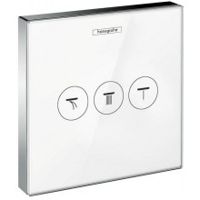 HANSGROHE SHOWERSELECT GLASS ventil pod omietku 156x156mm, pre 3 spotrebiče, biela/chróm