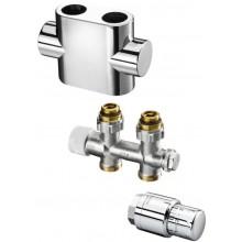 CONCEPT SADA 3 pripojovacia sada Multiblock T/UNI SH pre kúpeľňové vykurovacie telesá, priama, chróm