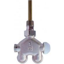 """HERZ VUA 40 štvorcestný ventil 1/2"""" so závitom, rohový, pre jednorúrkové sústavy, mosadz"""
