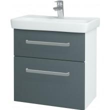DŘEVOJAS GO SZZ2 60 kúpeľňová skriňa 545x560x346mm, vrátane umývadla, biela/šedý mat