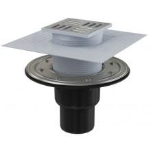 ALCAPLAST APV4344 podlahový vpust 105×105/50/75mm priamy, mriežka nerez, vodná a suchá zápachová uzávera, PP