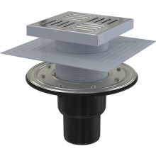 ALCAPLAST APV4444 podlahová vpusť 150×150/50/75mm priama, príruba a límec 2. úrovne izolácie, vodná a suchá zápachová uzávera, PP