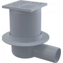 ALCAPLAST podlahová vpust 105x105mm, bočná 50mm, vodná zápachová uzávera, šedá