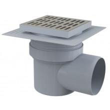 ALCAPLAST APV12 podlahová vpusť 150×150/110 bočná, límec 2. úrovne izolácie, vodná zápachová uzávěra, PP