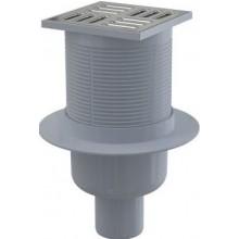 ALCAPLAST APV32 podlahová vpusť 105×105/50 priama, kombinovaná zápachová uzávera, PP