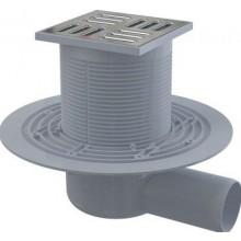 ALCAPLAST podlahový vpust 150x150mm, bočné pr.50mm, st. výška 88mm, vodná zápachová uzávera, nerez
