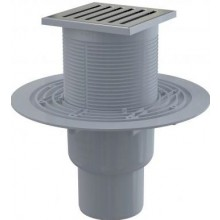 ALCAPLAST APV203 podlahový vpust 105x105mm, priama pr.50 / 75mm, vodná zápachová uzávera, nerez
