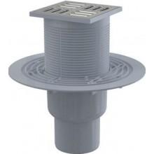 ALCAPLAST podlahová vpust 105x105mm, priama 50/75mm, kombinovaná zápachová uzávera, nerez