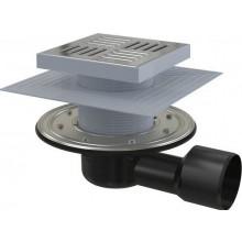 ALCAPLAST podlahový vpust 150x150mm, bočný pr.50/75mm, vodná a suchá zápachová uzávera, nerez/PP