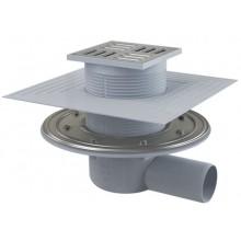 ALCAPLAST APV1324 podlahová vpusť 105×105/50 bočná, príruba a límec 2. úrovne izolácie, kombinovaná zápachová uzávera, PP