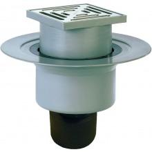HL podlahová vpusť DN50/75/110, so zvislým odtokom, pevnou izolačnou prírubou, polypropylén/nerez