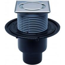 HL podlahová vpusť DN50/75/110, s vertikálnym odtokom a zápachom, polyetylén/nehrdzavejúca oceľ