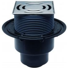 HL podlahová vpust DN50/75/110, zvislý odtok, izolačná príruba, zápachový uzáver, systém Klick-Klack, polyetylén/nerez