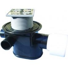 HL vpusť DN75/110 podlahová, s vodorovným odtokom a uzáverom proti vzdutej vode, polyetylén/nerez