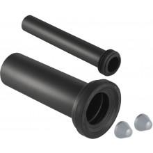 GEBERIT pripojovacia súprava DN100/45, pre WC, s krycími viečkami, predĺžená, PE-HD/EPDM, pochrómovaná matná