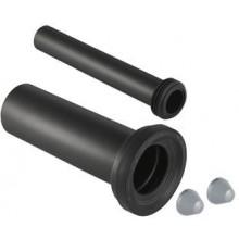 GEBERIT pripojovacia súprava DN90/45, pre WC, s krycími viečkami, predĺžená, PE-HD/EPDM, pochrómovaná matná
