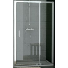 SANSWISS TOP LINE TED sprchové dvere 1000x1900mm, jednokrídlové s pevnou stenou v rovine, aluchróm/sklo Durlux