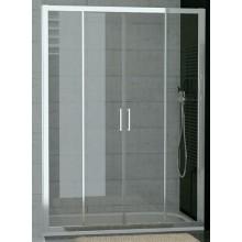 SANSWISS TOP LINE TOPS4 sprchové dvere 1600x1900mm, dvojdielne posuvné s 2 pevnými stenami v rovine, aluchróm/číre sklo