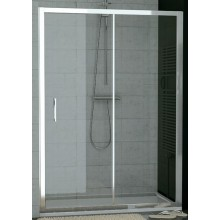 SANSWISS TOP LINE TOPS2 sprchové dvere 1600x1900mm, jednodielne posuvné s pevnou stenou v rovine, matný elox/sklo Durlux