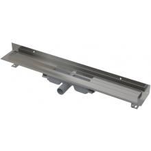 CONCEPT 100 LOW podlahový žľab 750x60mm znížený, s okrajom pre plný rošt a pevným golierom k stene, nerez
