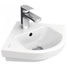 VILLEROY & BOCH SUBWAY 2.0 rohové umývadlo 355x320x140mm, bez prepadu, Biela Alpin CeramicPlus
