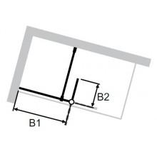 HÜPPE SOLVA PURE WALK-IN SW 1200 bočná stena 1200x2000mm s výklopným segmentom, s nástennou lištou 4-uholník, upevnenie vpravo, strieborná lesklá/sklo číre AP
