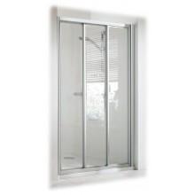 CONCEPT 100 sprchové dvere 900x900x1900mm posuvné, rohový vstup, 3-dielne s pevným segmentom, strieborná/matný plast