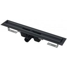 ALCAPLAST APZ1BLACK podlahový žľab 910mm, s okrajom pre perforovaný rošt, nerez/PP, čierna mat