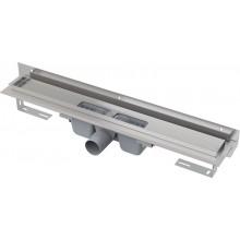 CONCEPT 100 FLEXIBLE podlahový žľab 810mm s okrajom, nastaviteľným golierom k stene, pre perforovaný rošt, nerez