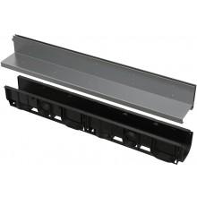 ALCAPLAST AVZ101-R321 vonkajší žľab 1000mm, štrbinový, s asymetrickým nástavcom 100mm, PP/nerez, čierna