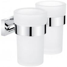 NIMCO KEIRA držiak pohárov 155x102x112mm, dvojitý, chróm/matné sklo