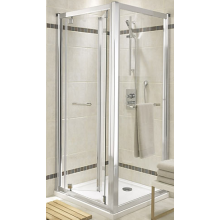 KOLO GEO-6 skladacie dvere 900x1900mm do niky alebo pre kombináciu s pevnou bočnou stenou alebo rozširovacím panelom, strieborná lesklá/číre sklo