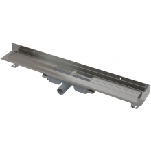 CONCEPT 100 LOW podlahový žľab 1050x60mm znížený, s okrajom pre plný rošt a pevným golierom k stene, nerez