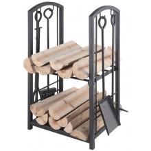 LIENBACHER sada stojan na drevo 400x300x730mm, s náradím, čierna