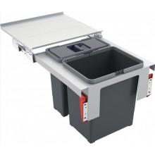 FRANKE GARBO 45-2 odpadkový kôš 1x12l+1x18l, zabudovateľný, šedá