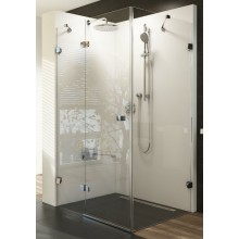 RAVAK BRILLIANT BSDPS 100/80 sprchovací kút 1000x800x1950mm dvojdielny s pevnou stenou, pravý, chróm/transparent