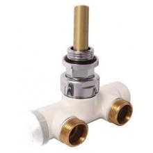 """HERZ VUA-50 R-DESIGN ventil G1/2"""" rohový, štvorcestný, pre jednorúrkové sústavy, biela"""